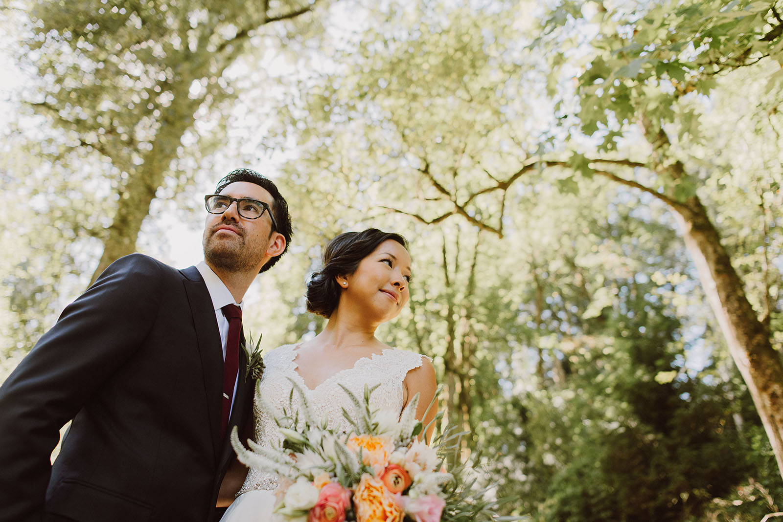 Portrait of bride and groom in Macleay Park | Portland Castaway Wedding