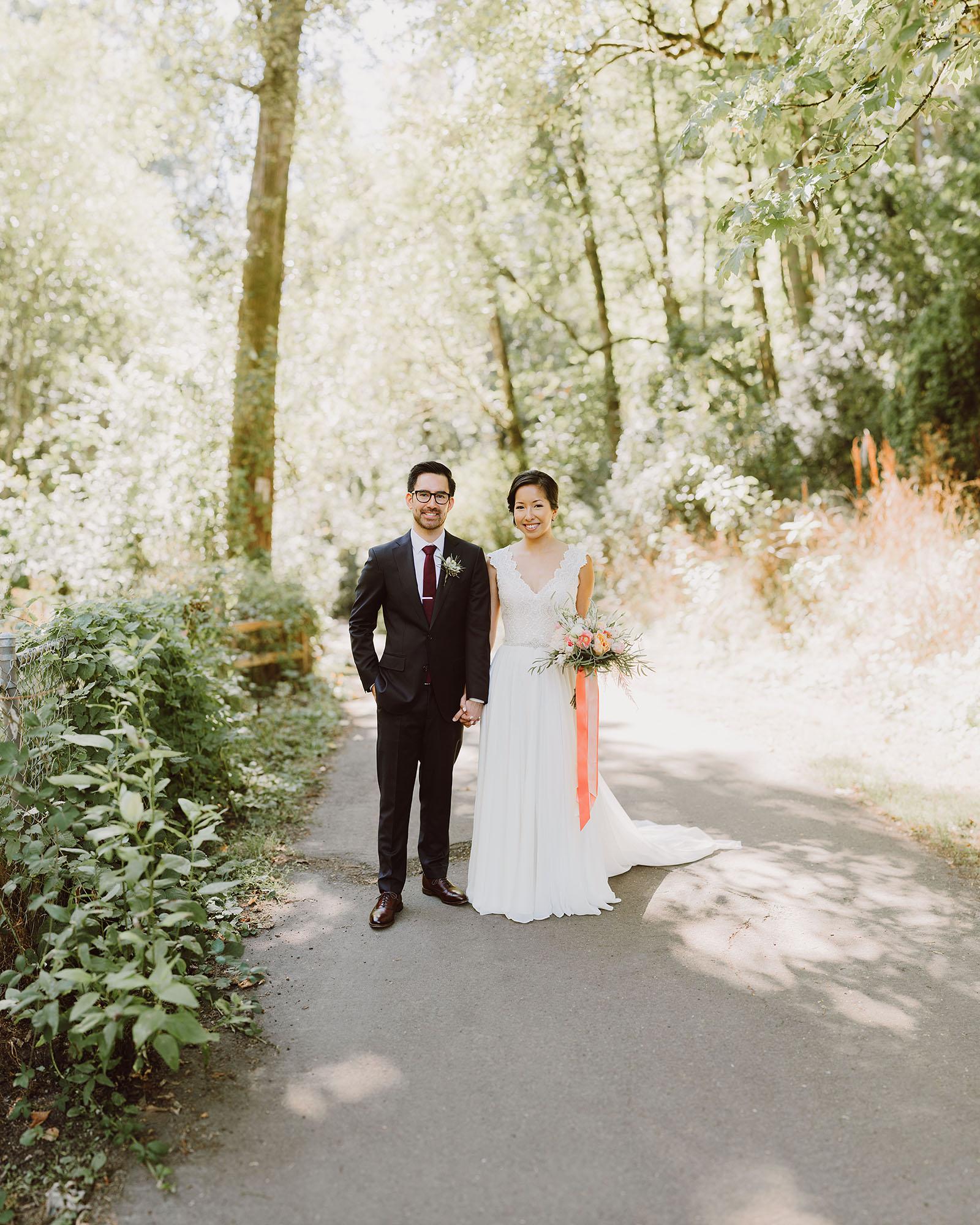 Bokeh Panorama / Brenizer Method of bride and groom | Portland Castaway Wedding