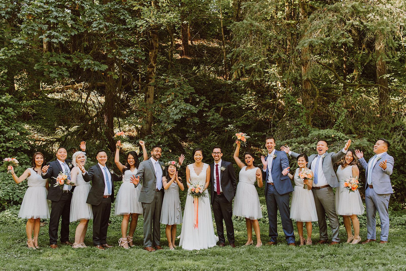 Wedding party cheering before the ceremony | Portland Castaway Wedding