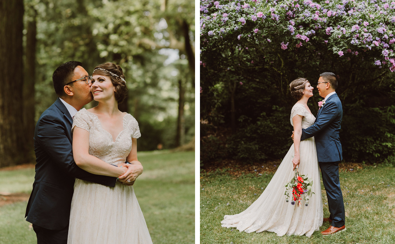 Groom hugging Bride in Laurelhurst Park | Downtown Portland Elopement