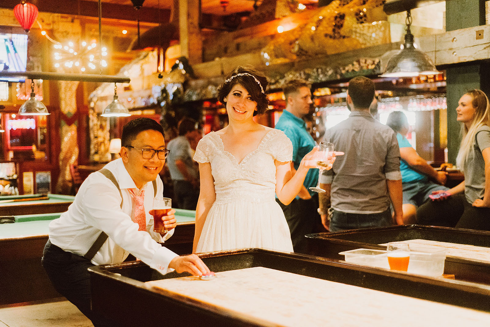 Shuffleboard After Party at McMenamins Ringler Pub | Downtown Portland Elopement