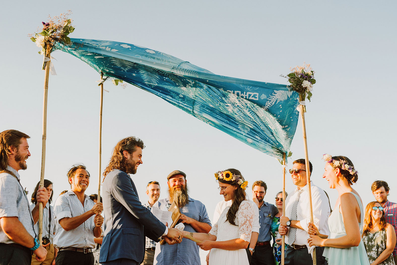 Ceremony under a chuppah at the Croft Farm | Sauvie Island Wedding