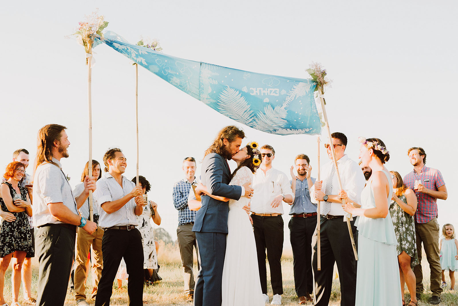 Bride and Groom's First Kiss under the chuppah | Sauvie Island Wedding