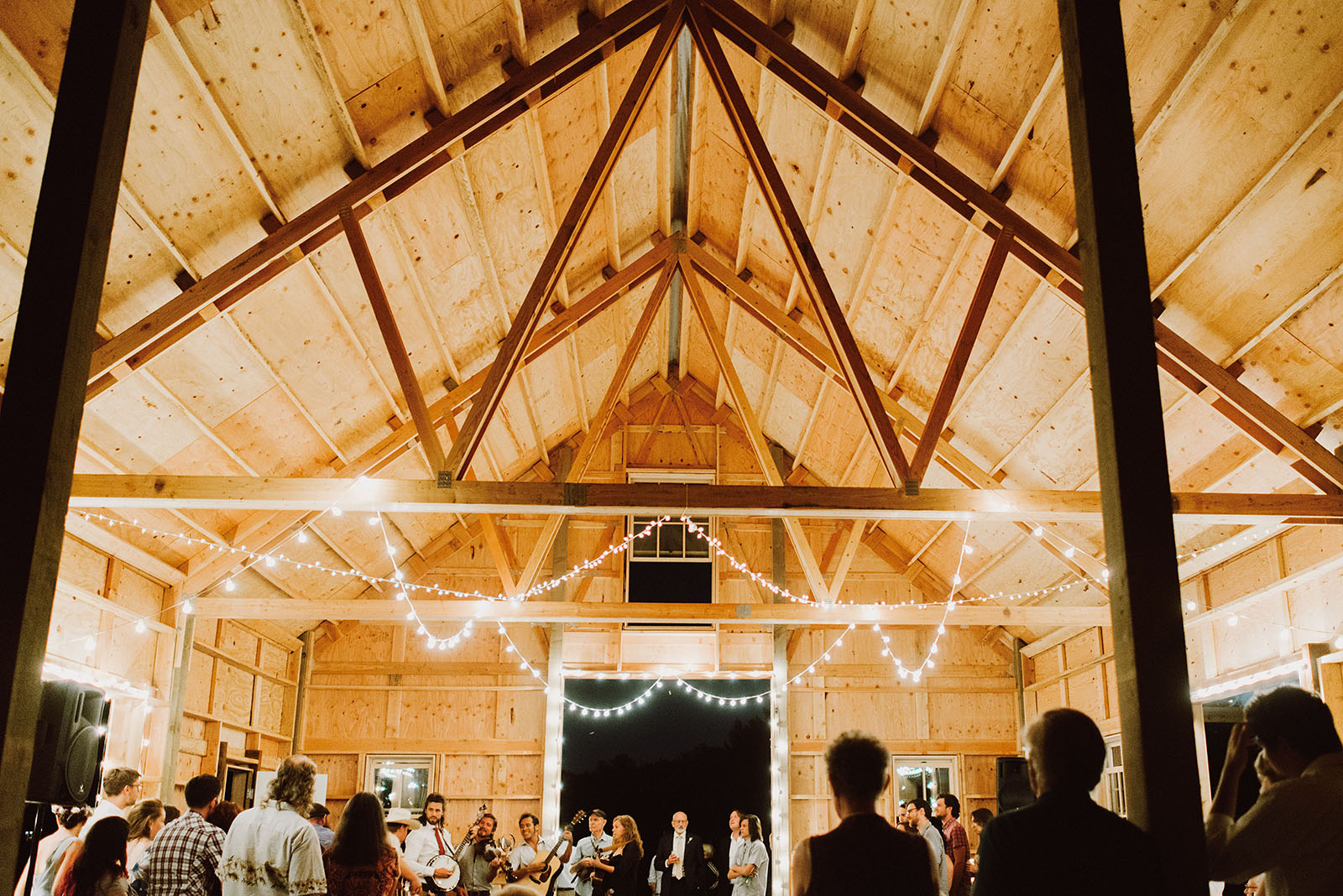 Groom and friends performing bluegrass | Sauvie Island Wedding