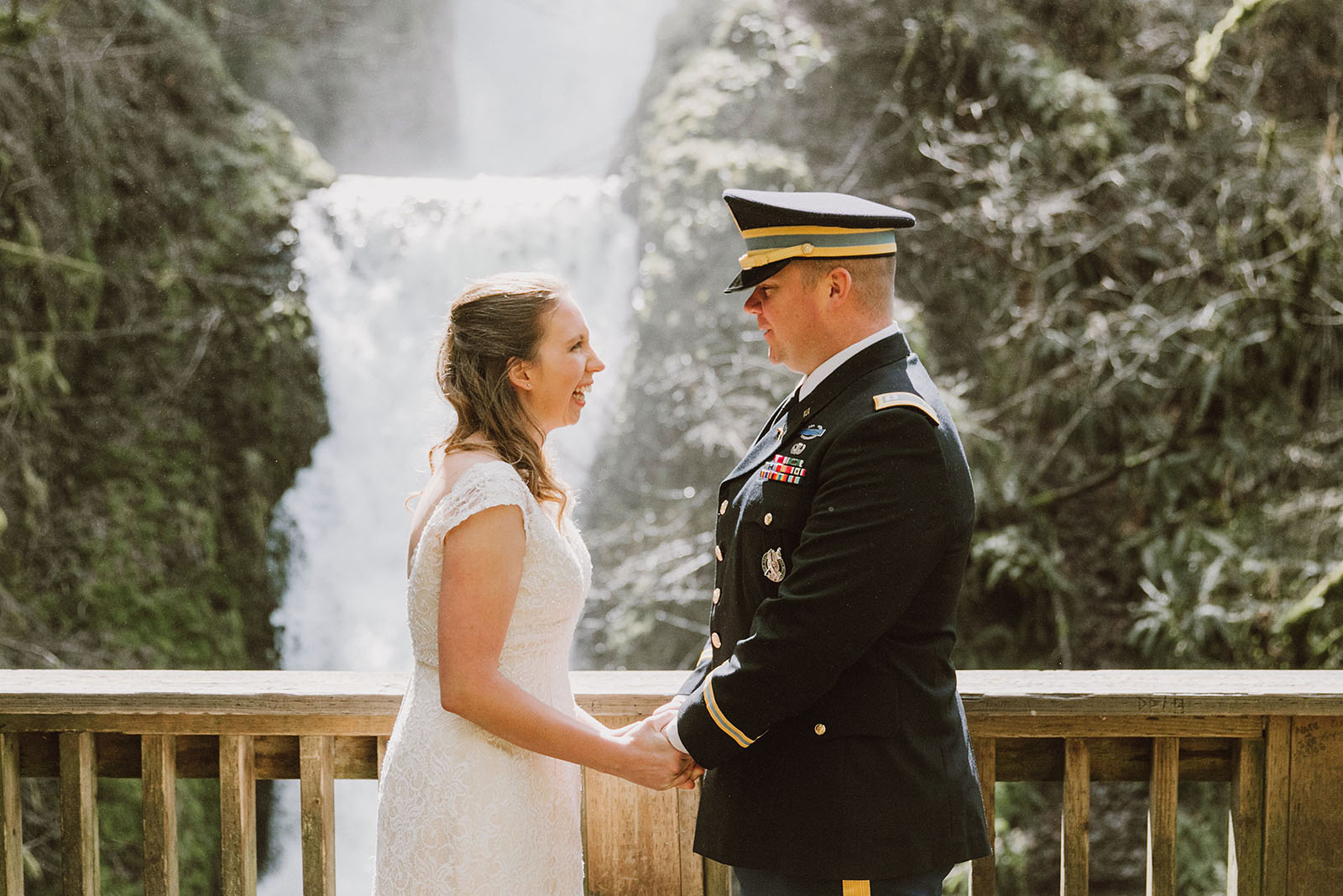 First look on the viewing dock | Bridal Veil Elopement Photographer