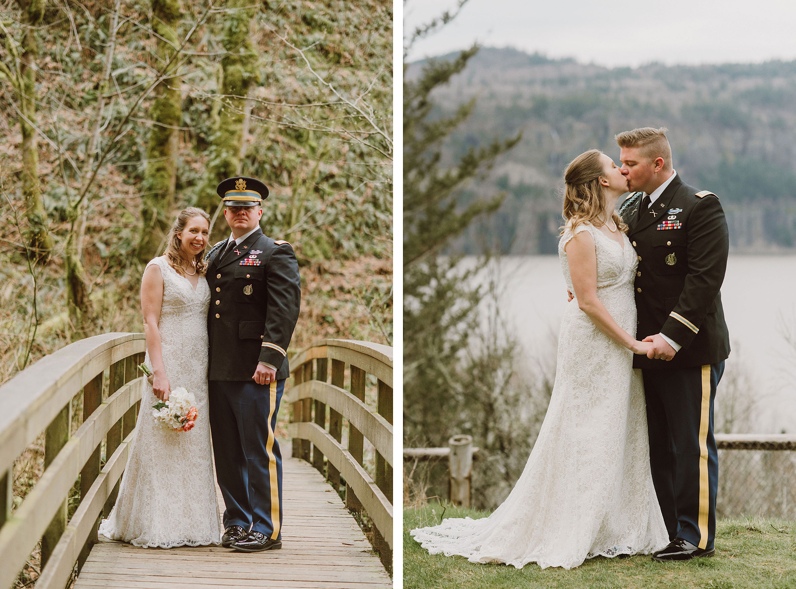 Portraits of Bride and Groom on the hiking trail | Bridal Veil Elopement Photographer