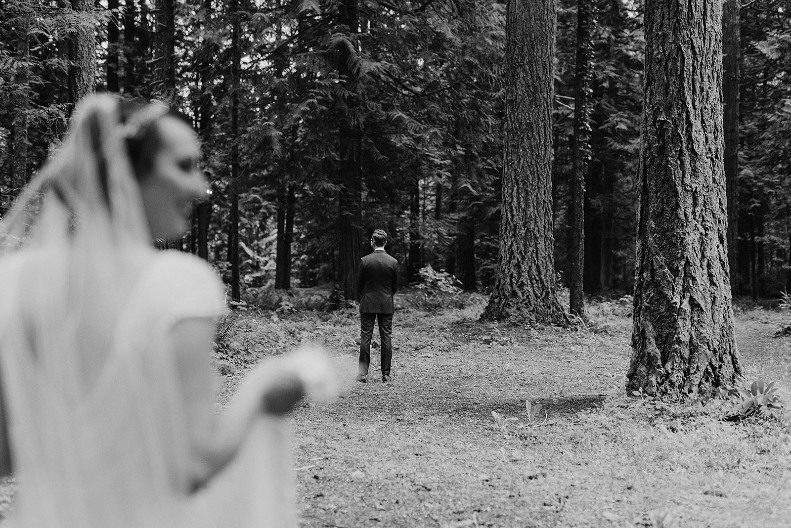 Bride and Groom's first look at a Camp Angelos - Portland Wedding photography