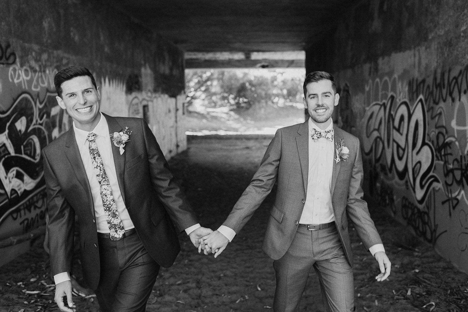 grooms holding hands - Portland Wedding photography