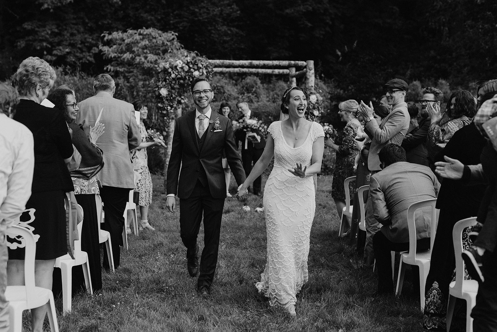 couple walking down aisle at Camp Angelos - Portland Wedding photography