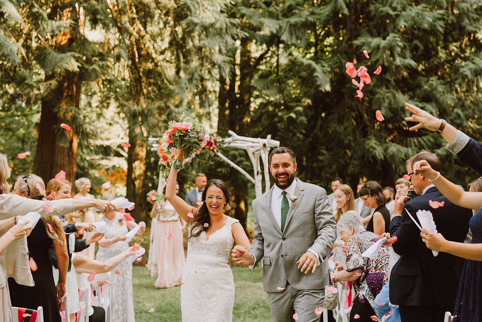bride and groom walking down the aisle at Cedarville Lodge - Portland Wedding photography