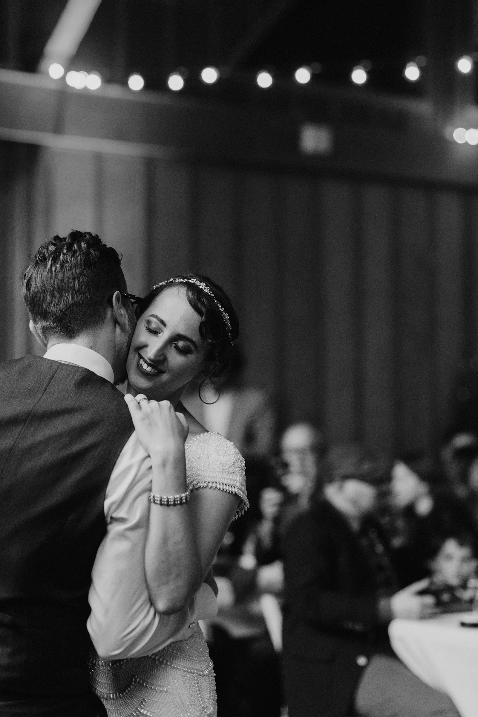 bride and groom's first dance at Camp Angelos - Portland Wedding photography