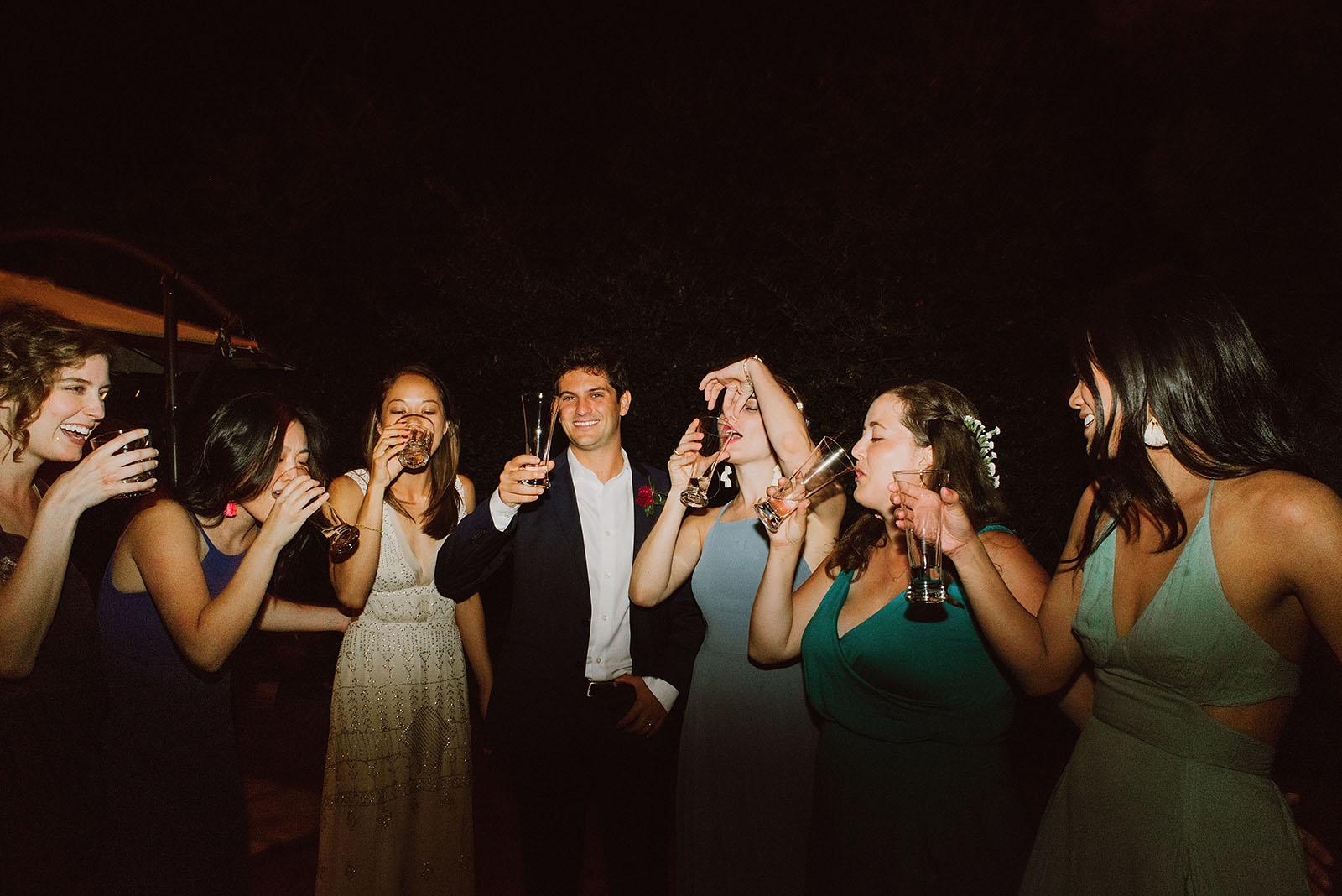 wedding party doing shots - Portland Wedding photography