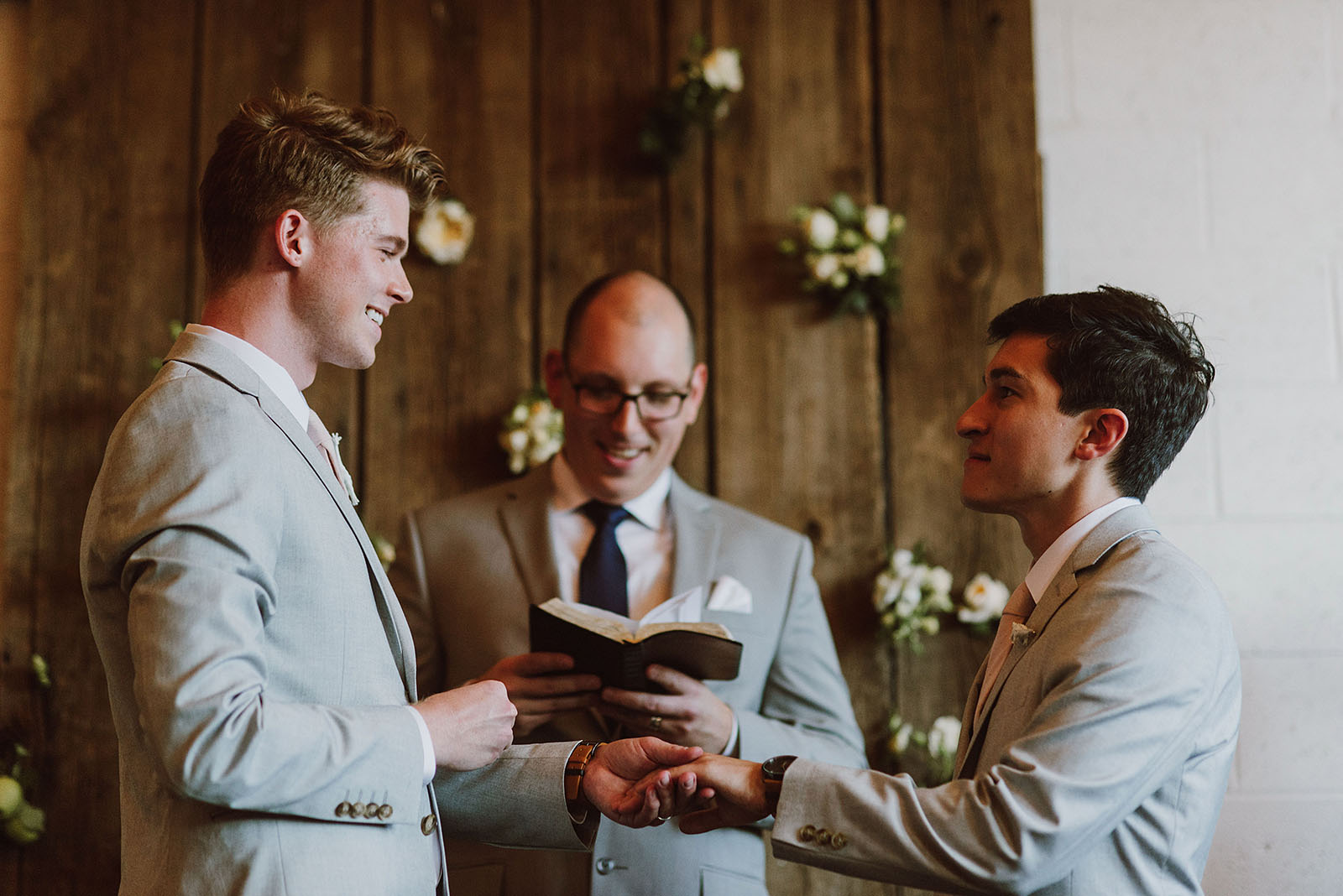 Exchanging rings during a Union Pine wedding ceremony