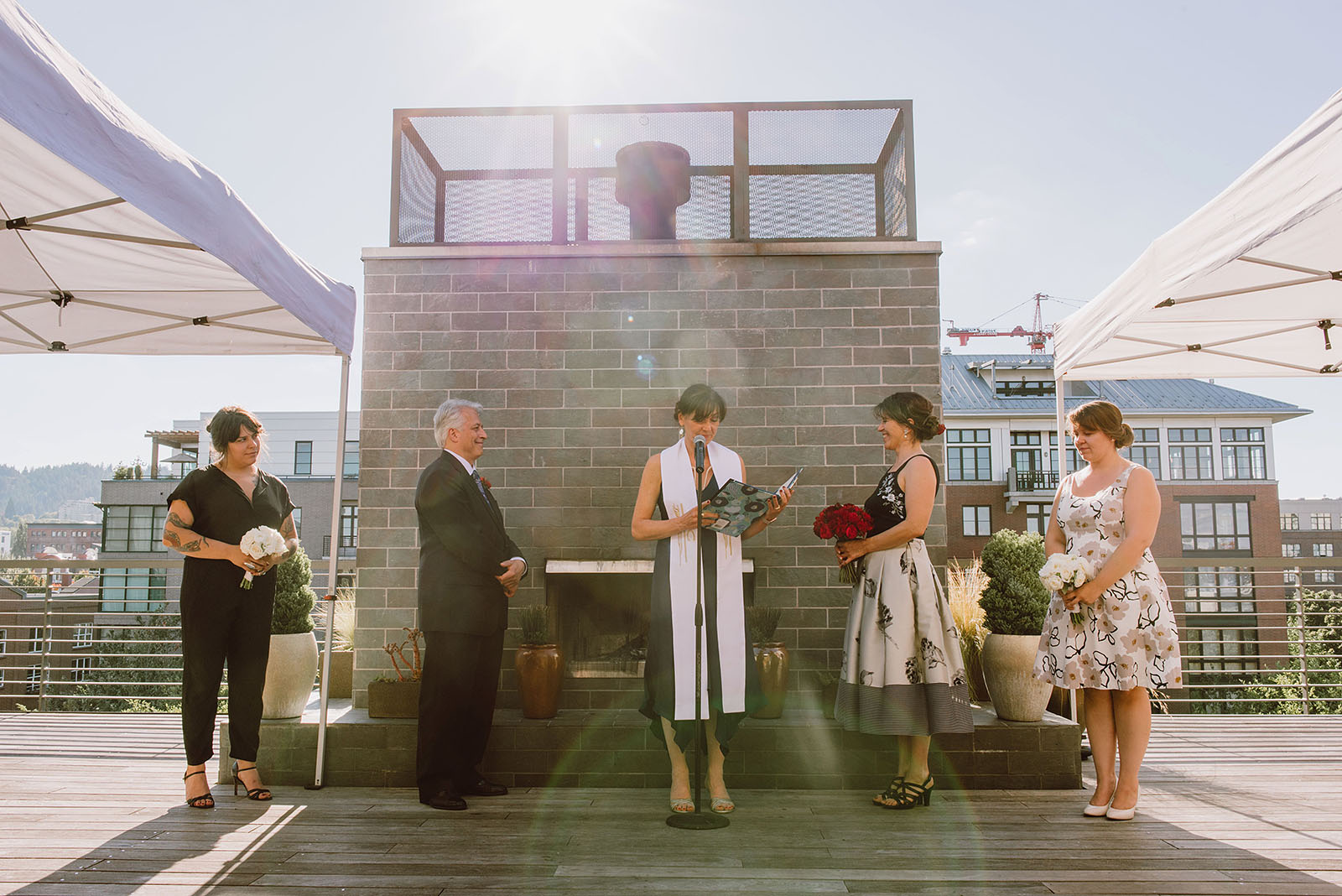 Rooftop ceremony at an Ecotrust Wedding
