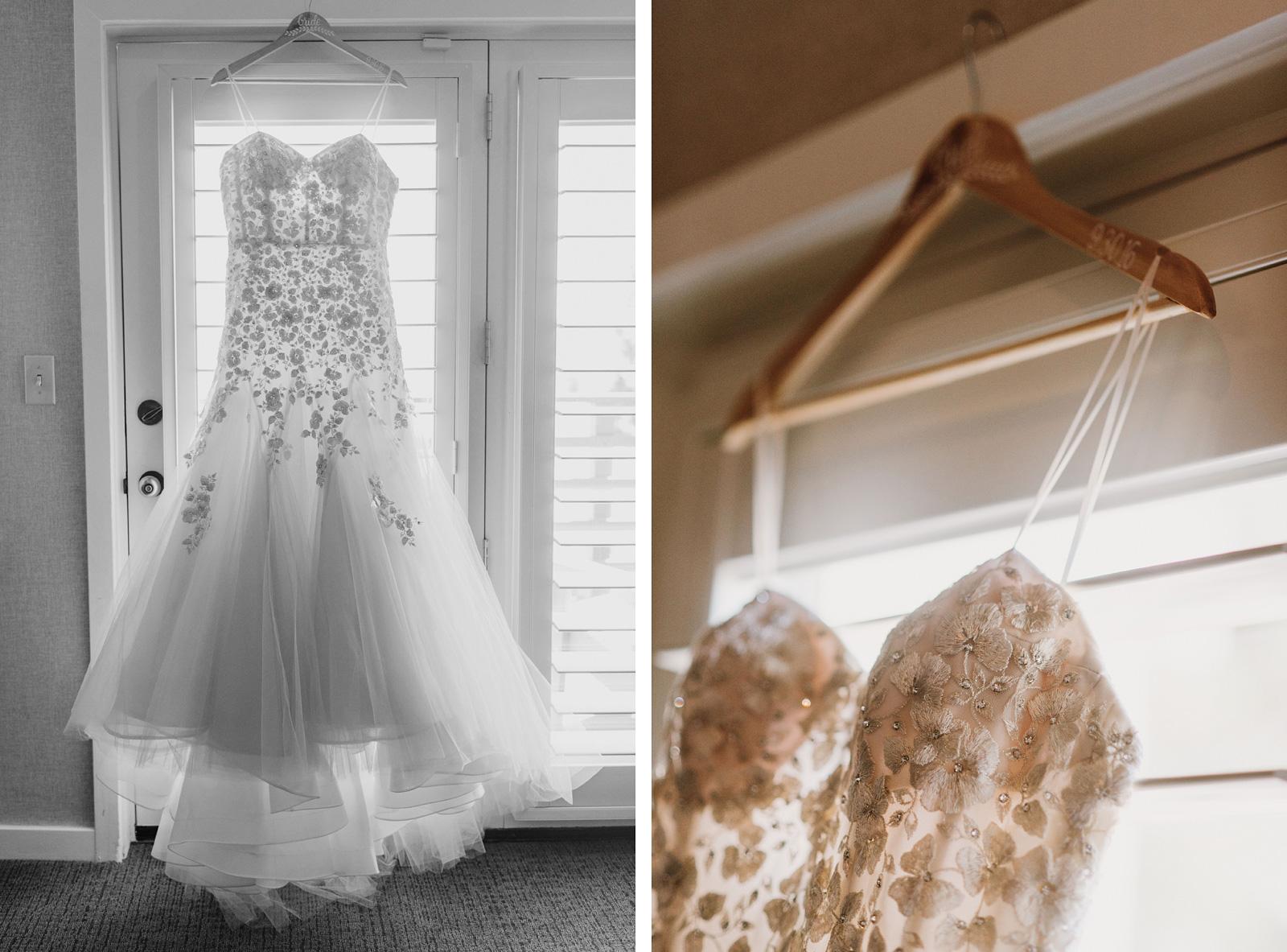 Brides dress hanging at Incline Village Wedding in North Lake Tahoe