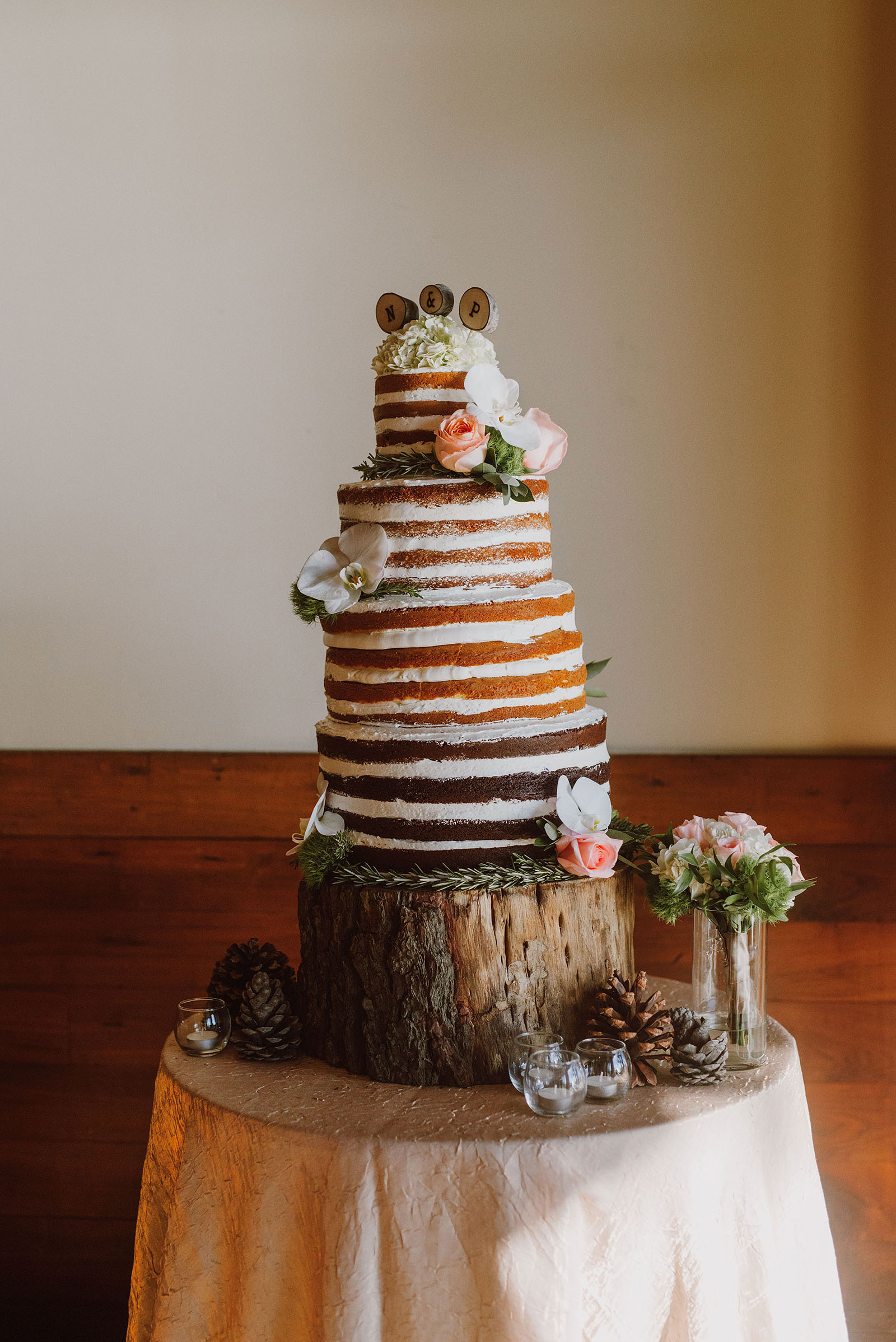 Tiered wedding cake at the Hyatt Regency Incline Village Wedding