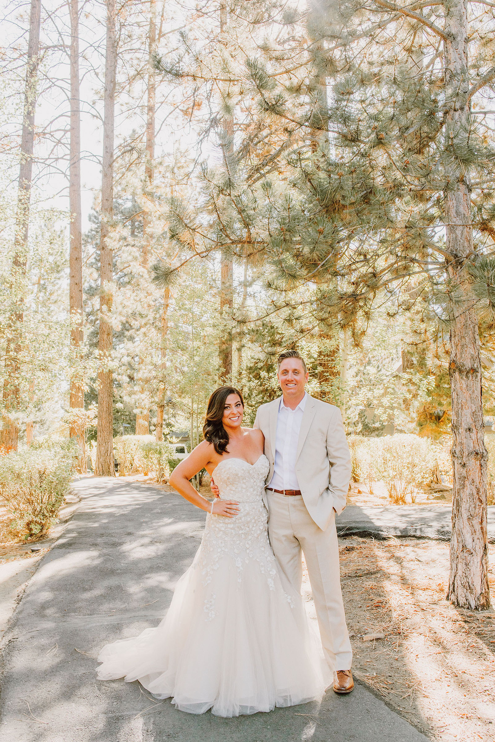 Portrait of bride and groom in the pine trees at their Incline Village Wedding in North Lake Tahoe