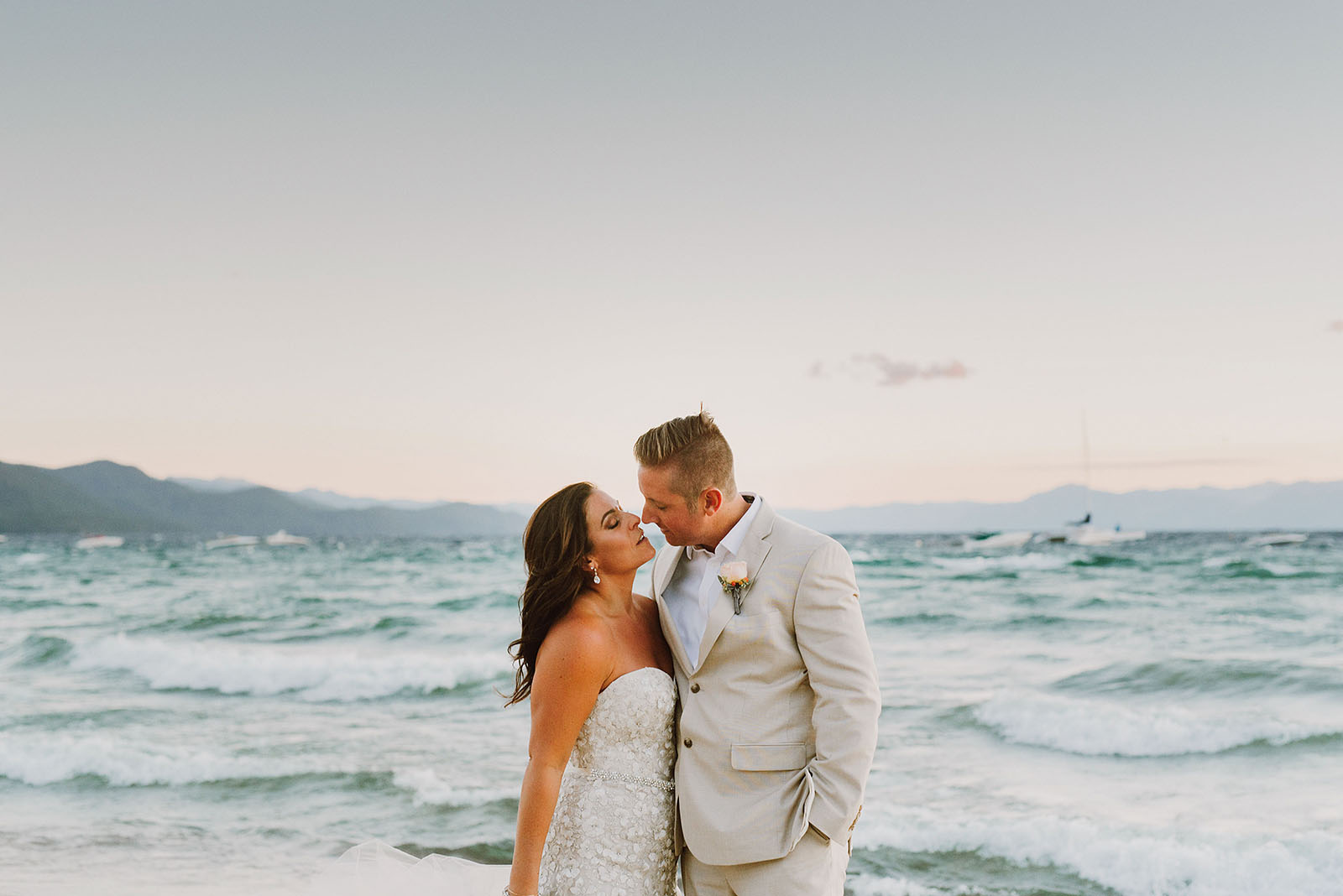 Sunset portraits on the beach at an Incline Village wedding in North Lake Tahoe