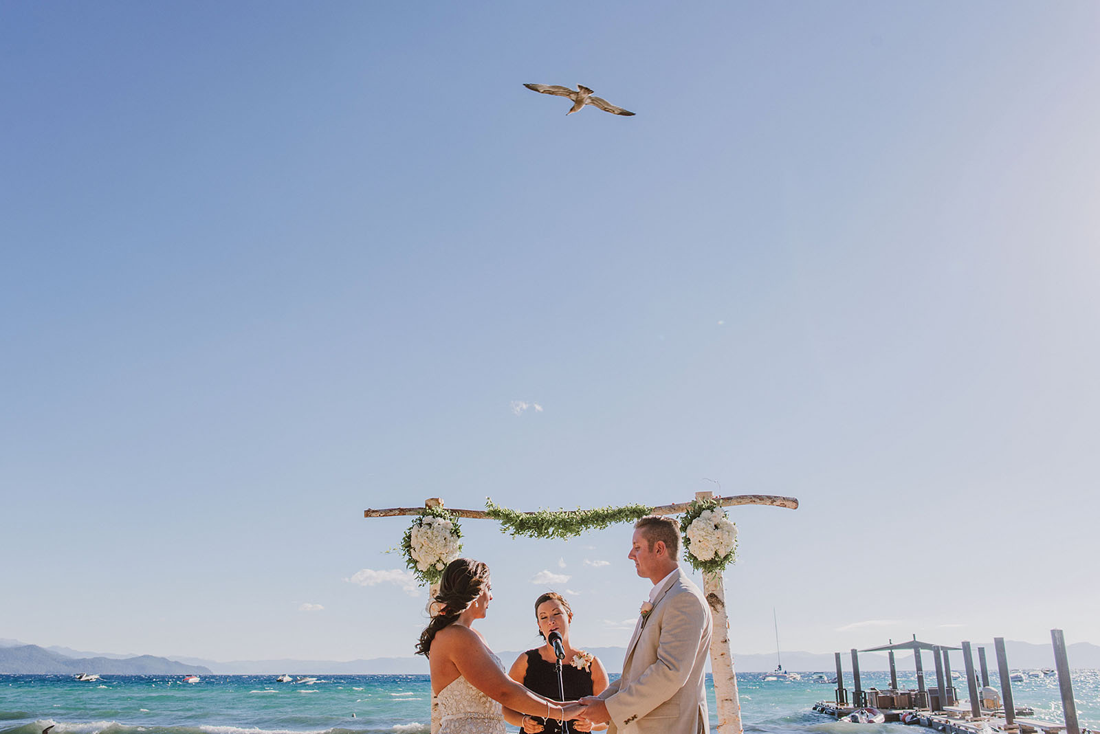 Incline Village wedding ceremony on the beach