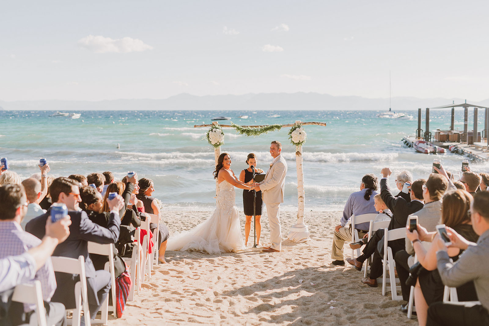 Incline Village wedding ceremony on the beach at Hyatt Regency