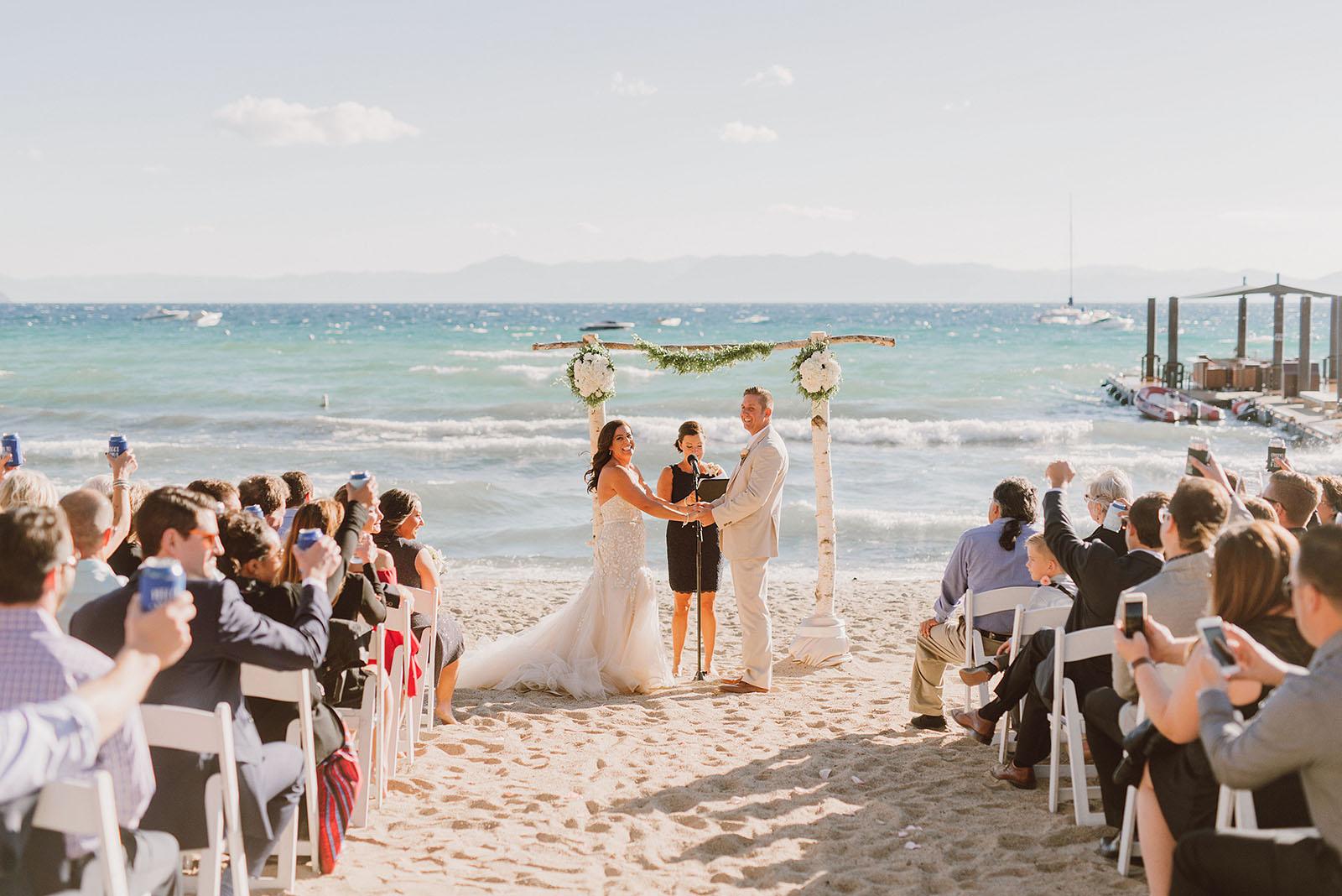 Incline Village wedding ceremony on the beach at Hyatt Regency