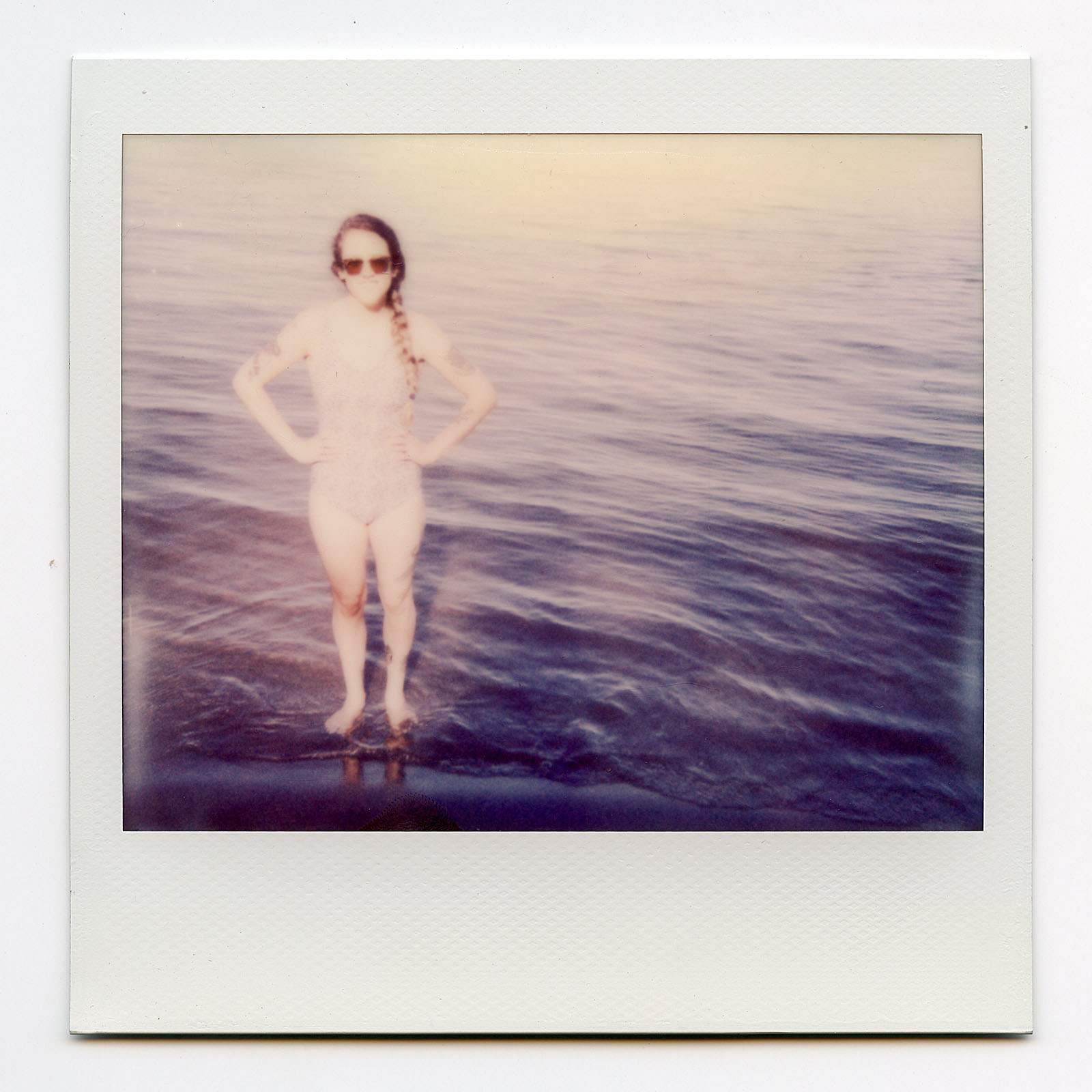 Polaroid of Sallie Ford swimming on Sauvie Island in Portland, OR