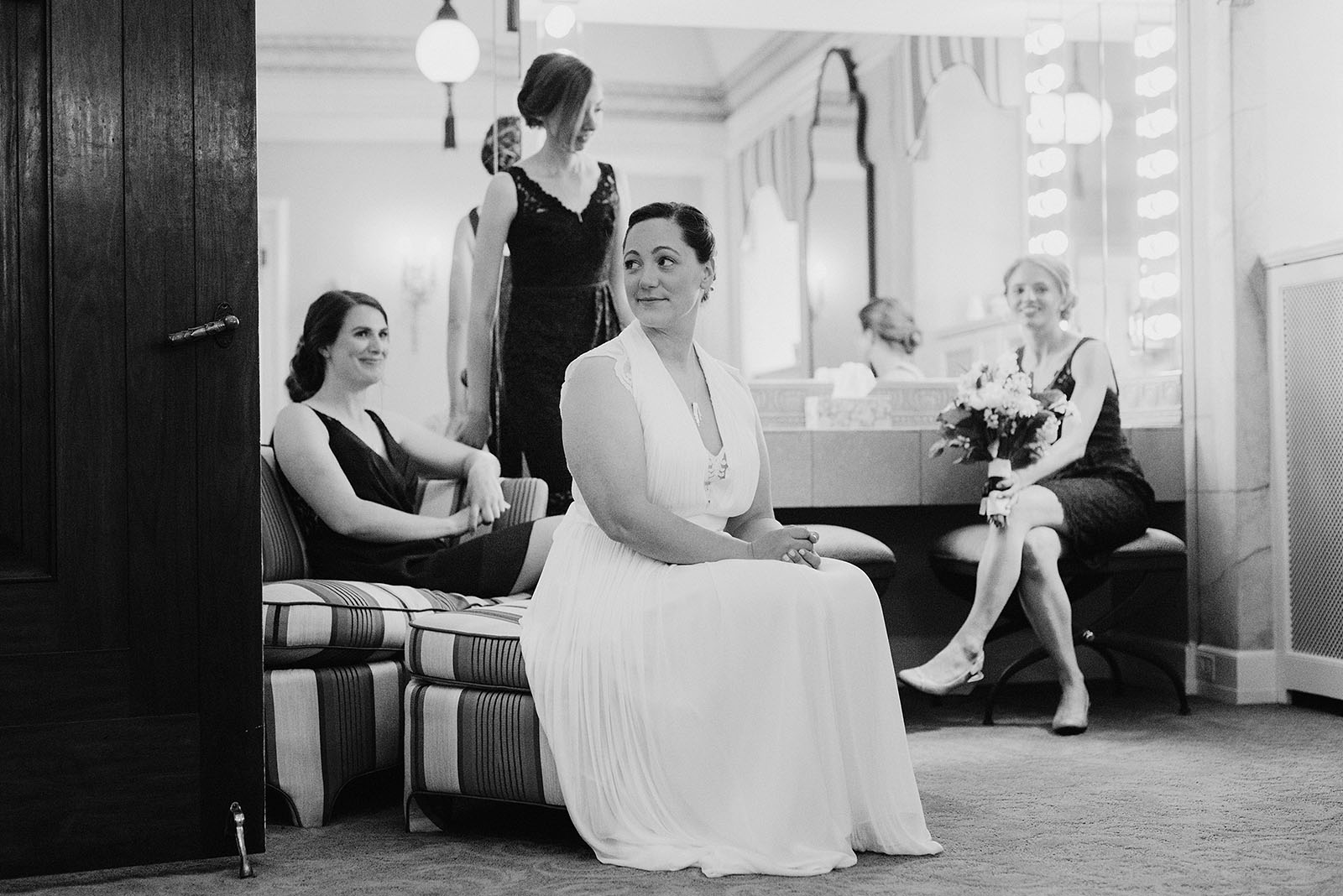 Bride waiting to sign ketubah at her Congregation Beth Israel wedding