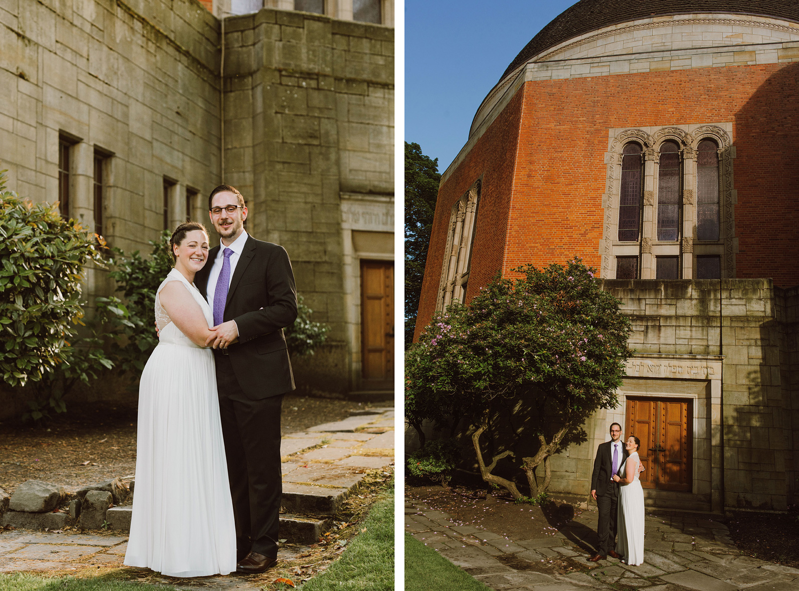Bride and Groom portraits at their Congregation Beth Israel wedding