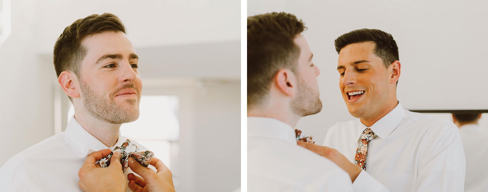 Grooms helping each other with their ties - Foreign Cinema Wedding