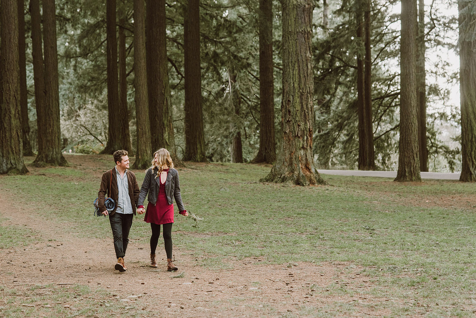 couple walking in their Mt Tabor Engagement Photos