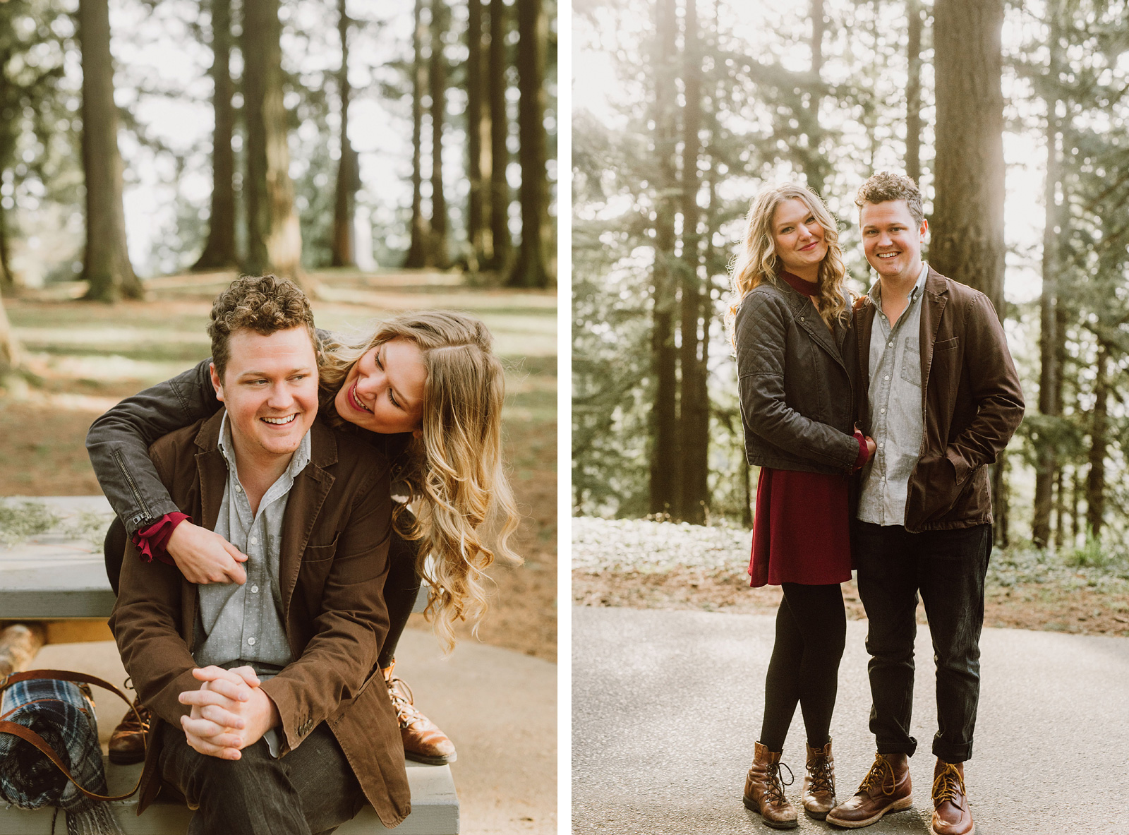 couple goofing off in their Mt Tabor Engagement Photos