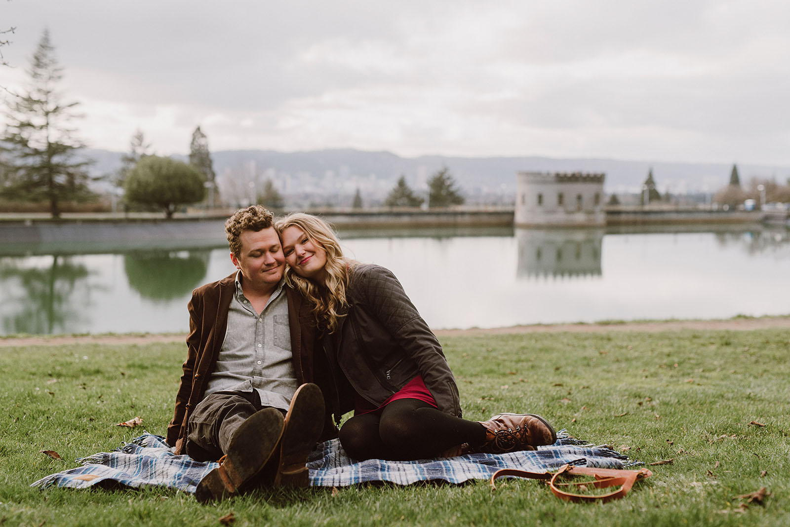 Mt Tabor Engagement Photos with Portland in the background
