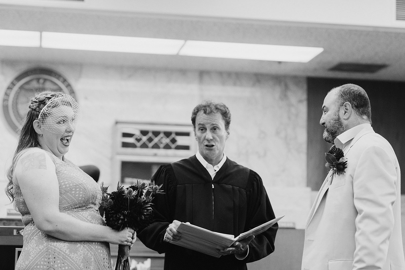 Ceremony at the Multnomah Courthouse for an intimate Ned Ludd Wedding