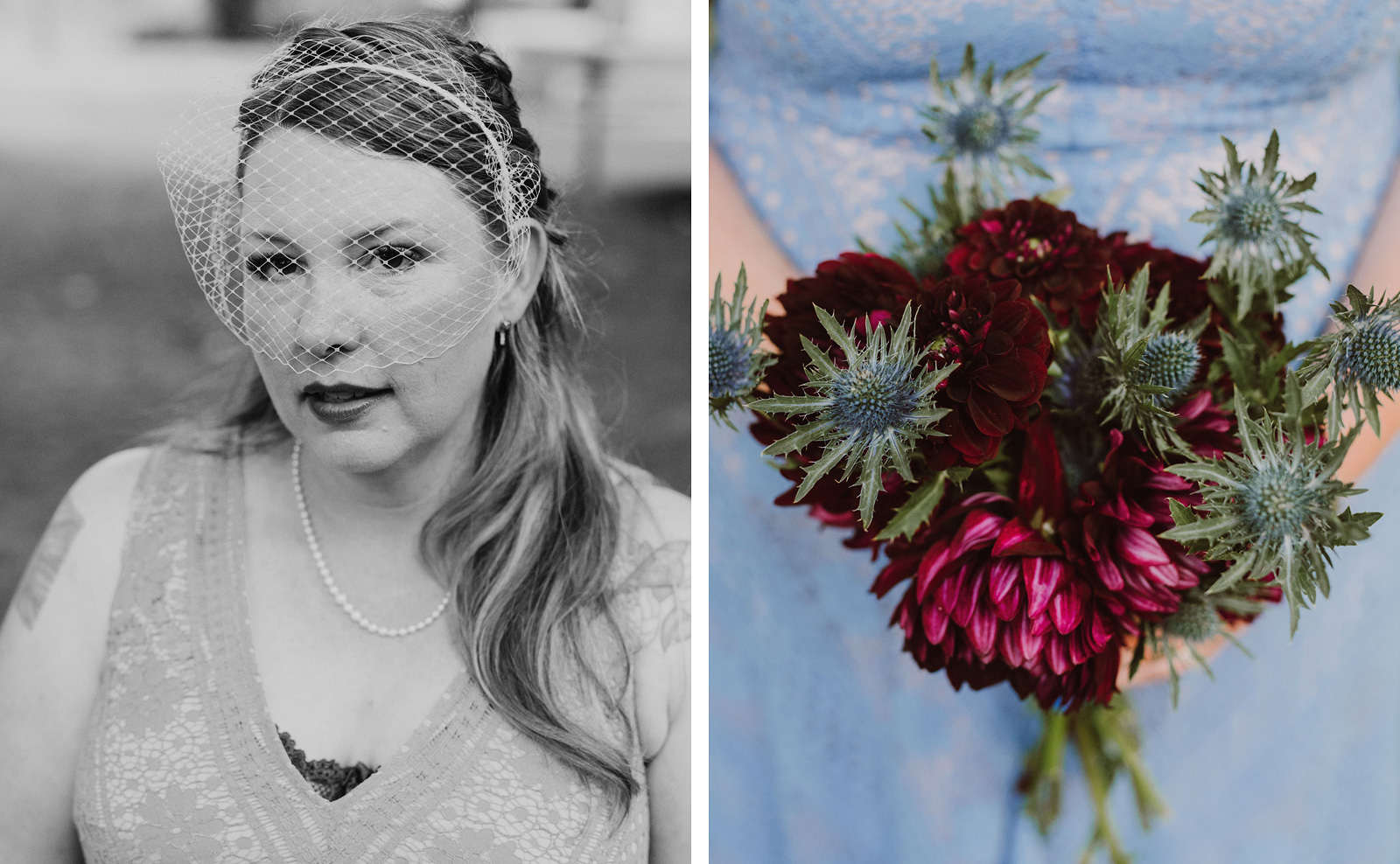 Portrait of bride with a cage veil and bouquet at an intimate Ned Ludd wedding