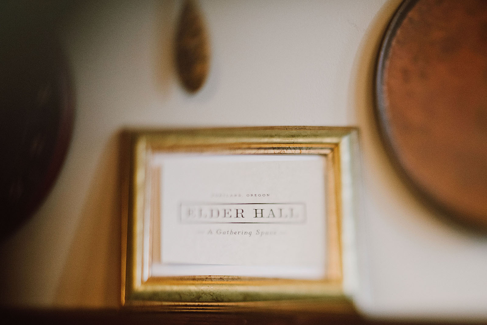 Elder Hall welcome plaque at an intimate Ned Ludd wedding