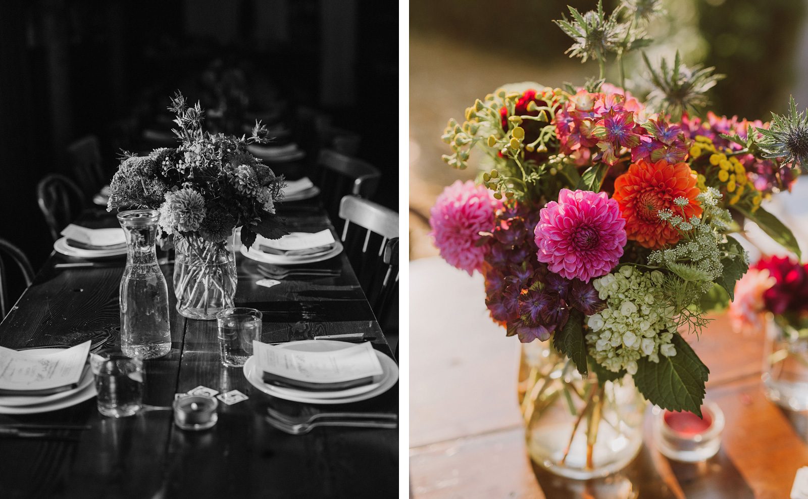 Elder Hall flowers and centerpieces at an intimate Ned Ludd wedding