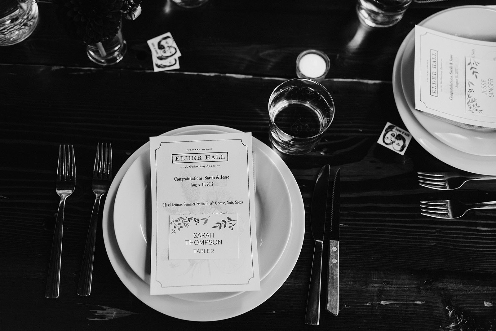Table settings at Elder Hall for an intimate Ned Ludd wedding