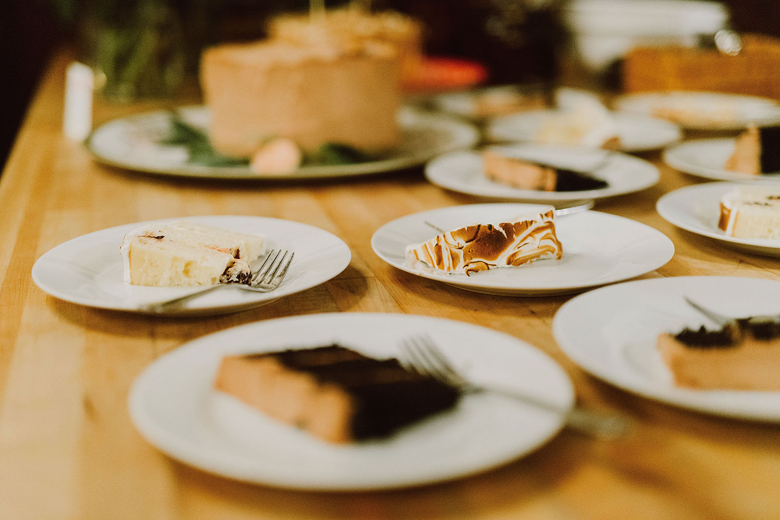 Slices of wedding cake at Elder Hall for an intimate Ned Ludd wedding