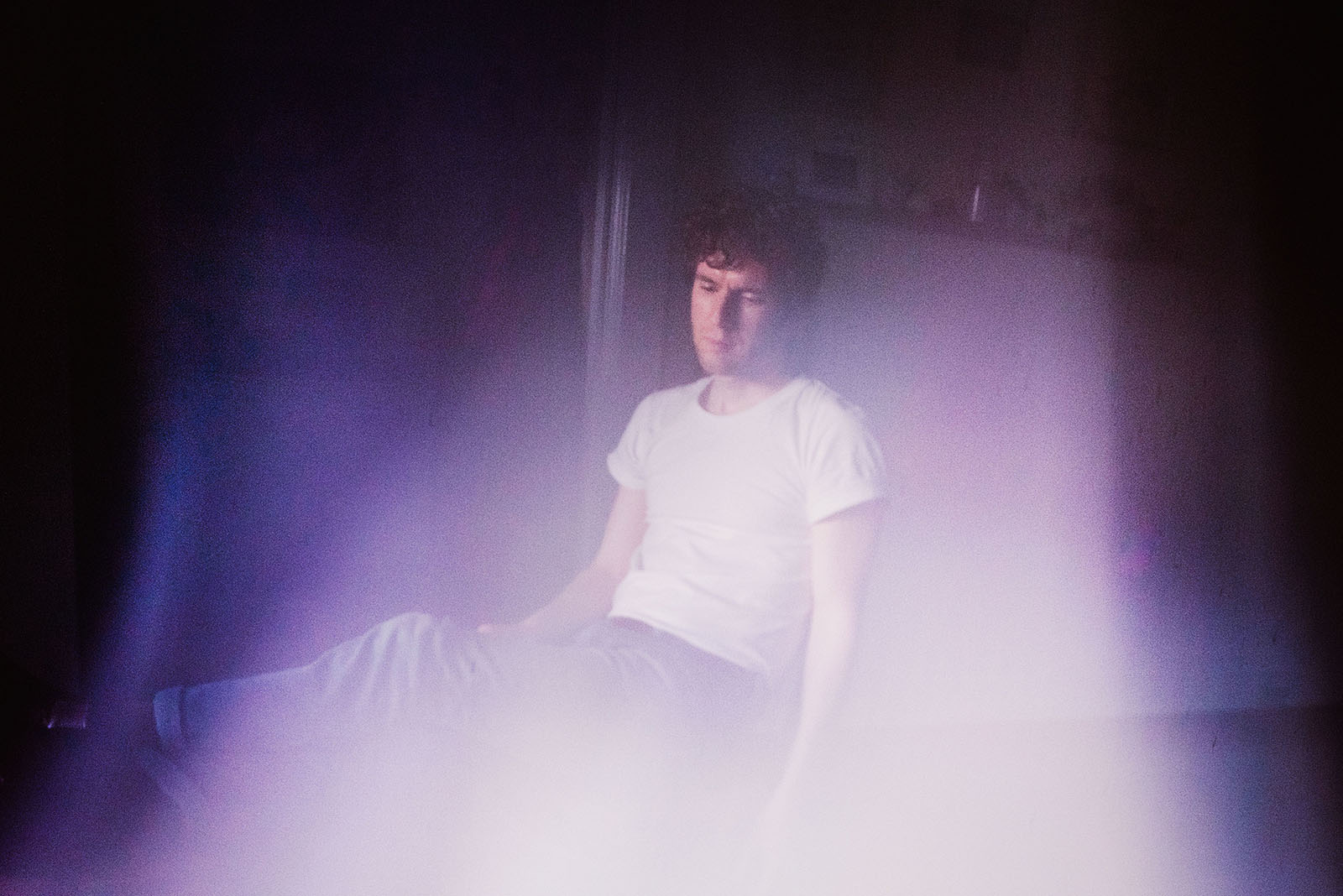 Portrait of Erik Emanuelson with purple light leaks - Portland Music Photographer