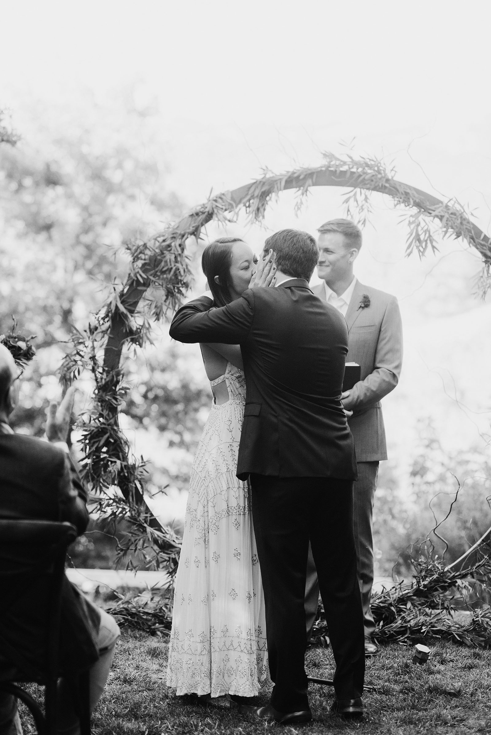 Bride and Groom kissing at a Sacred Mountain Retreat wedding ceremony