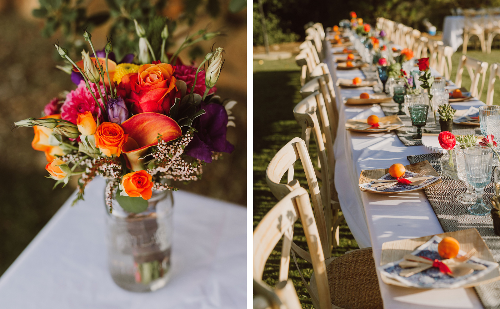 Decorations and table centerpieces at a Sacred Mountain Retreat Wedding