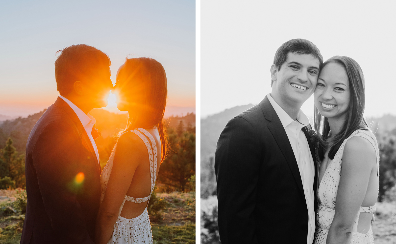 portraits of the bride and groom at a Sacred Mountain Retreat Wedding