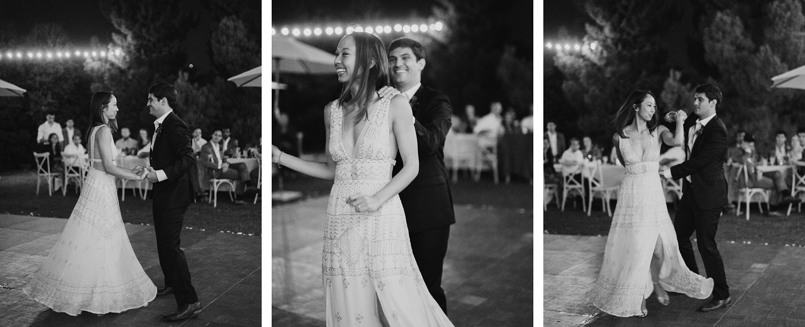 bride and groom having their first dance at a Sacred Mountain Retreat Wedding
