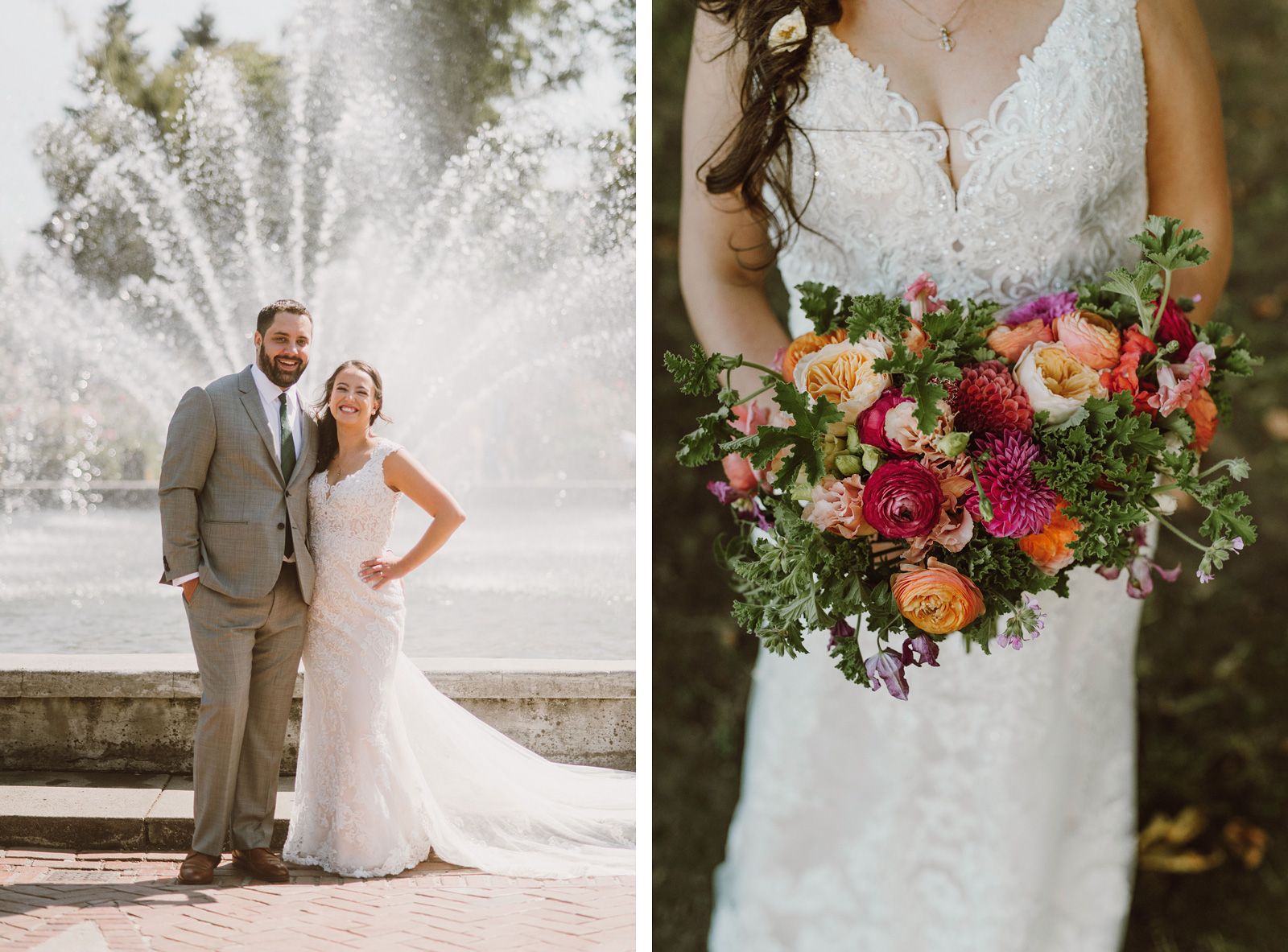 Portraits of Bride and Groom in the Peninsula Park Rose Garden