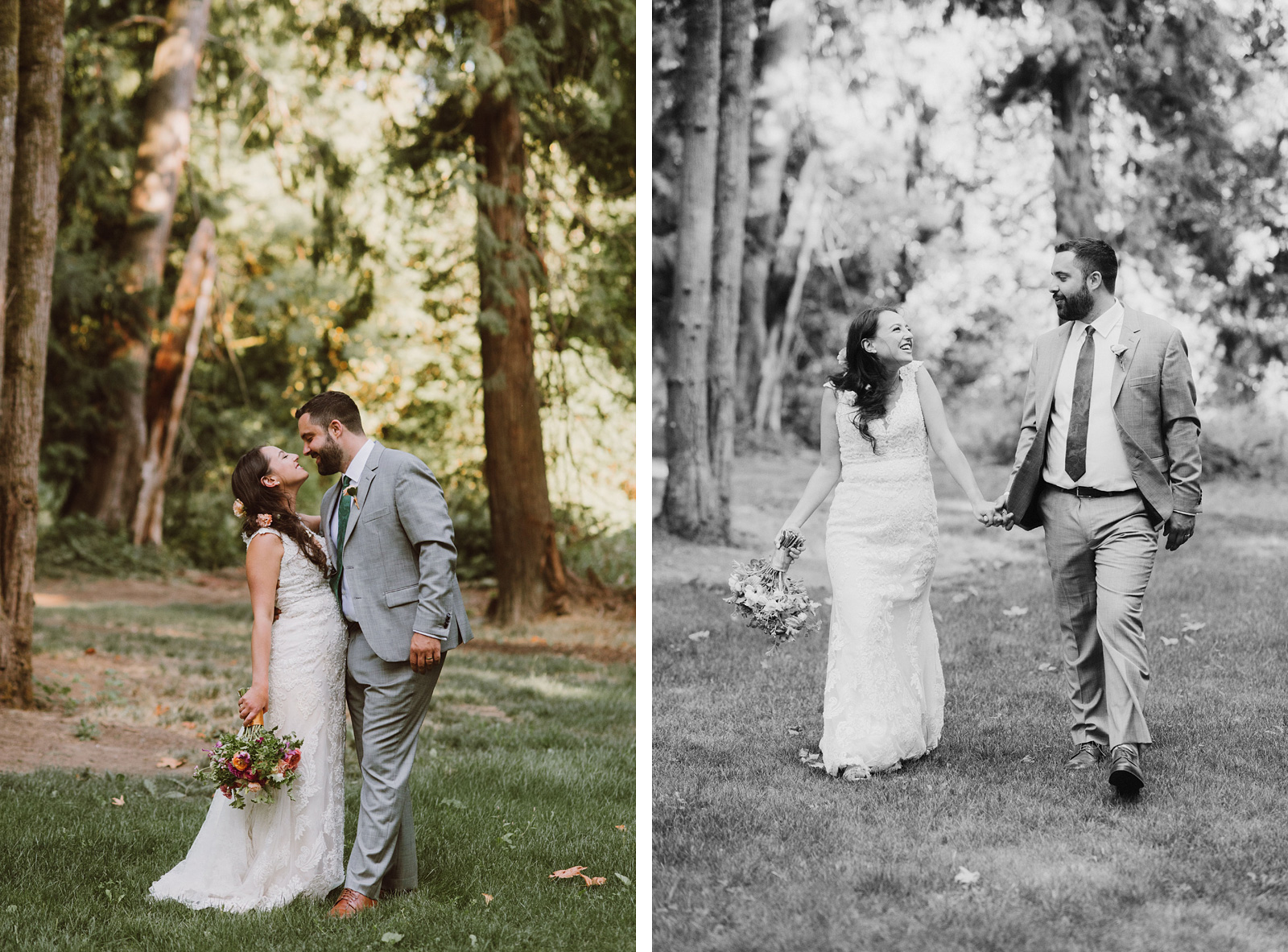 Bride and Groom stealing a kiss in the forest at a Cedarville Lodge Wedding