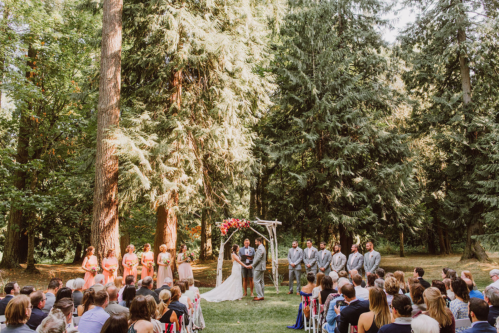 An outdoor Cedarville Lodge Wedding ceremony in Gresham, OR