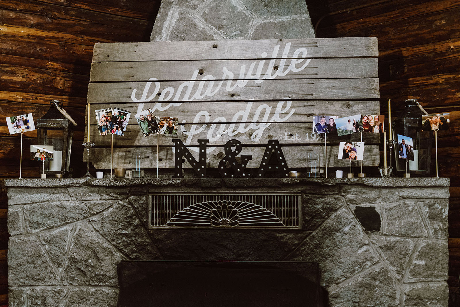 Fireplace decorations at a Cedarville Lodge Wedding