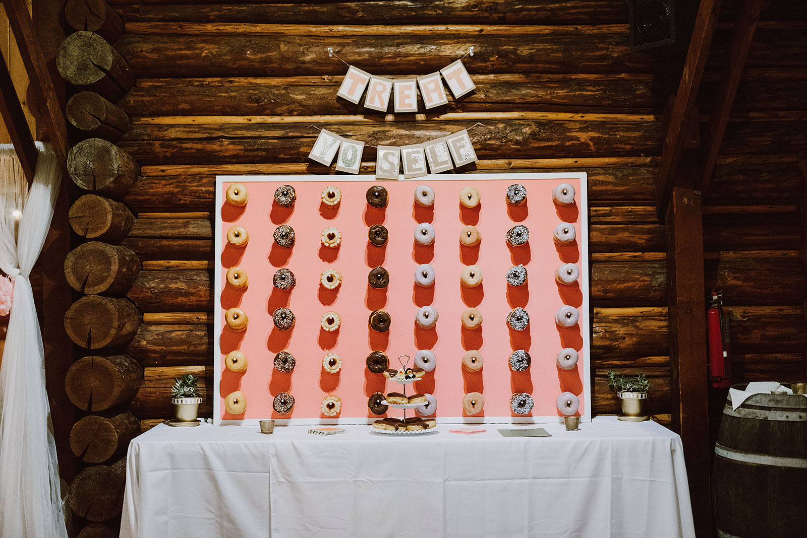 Wall of donuts at a Cedarville Lodge Wedding in Gresham, OR