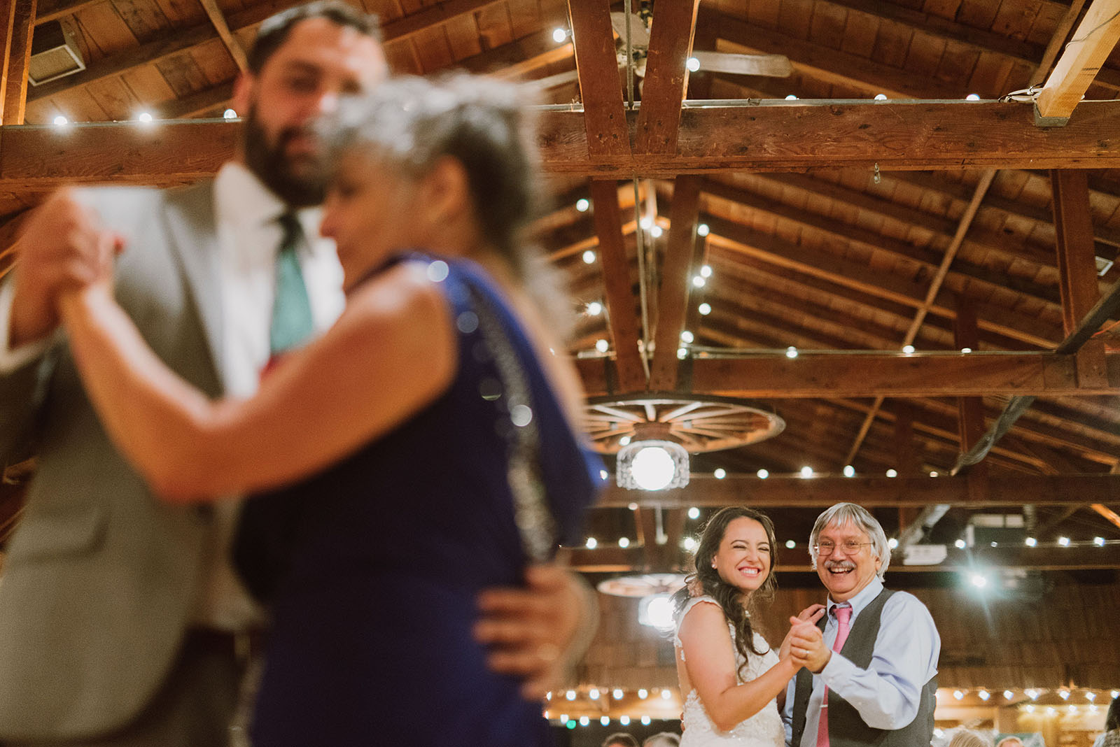 First dances with the newlyweds' parents at a Cedarville Lodge Wedding