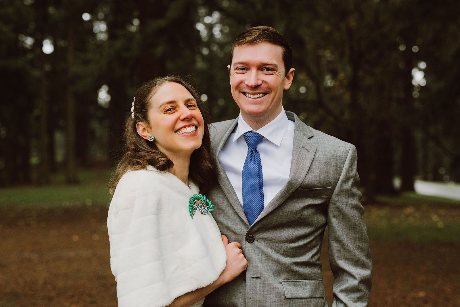 Portraits of Bride and Groom at Mt. Tabor Park
